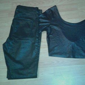 Black Crop Top + Jeans
